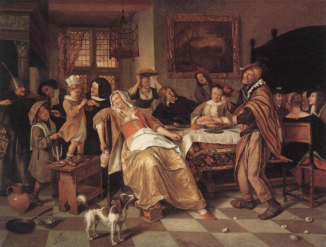 Święto fasolowe, obraz autorstwa Jan Steen z roku. Na obrazie biesiadnicy będący w grupie podwyższonego ryzyka zachorowania na zespół jelita drażliwego (IBS).