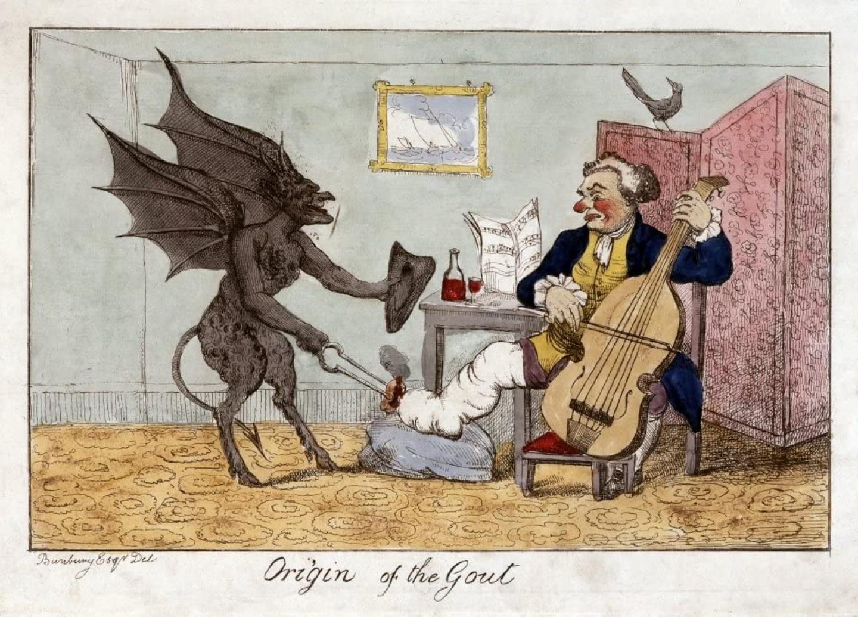 """""""Pochodzenie dny moczanowej"""" obraz autorstwa Henry William Bunbury z roku 1815"""